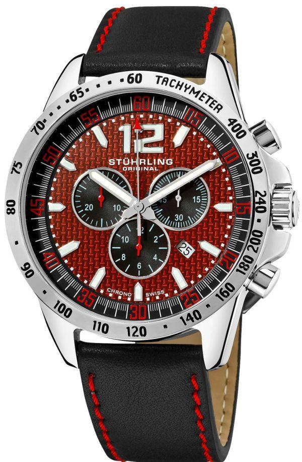 Stuhrling Original Men's 210A2.331540 Concorso Corale Swiss Quartz Chronograph Tachymeter Date Red Dial Watch