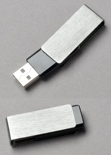 Premium Brushed Aluminum/Black Swivel USB Flash Memory Drive 64GB