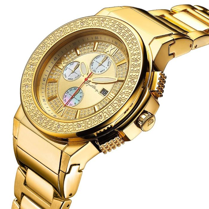 """Just Bling Men's JB-6101-D_MC """"Saxon"""" Gold and Money Clip Diamond Chronograph 18K Gold Plated Watch"""