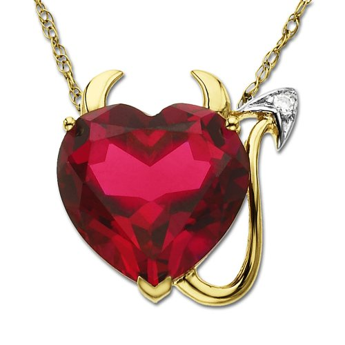 14k Yellow Gold Created Ruby Heart Devil Pendant