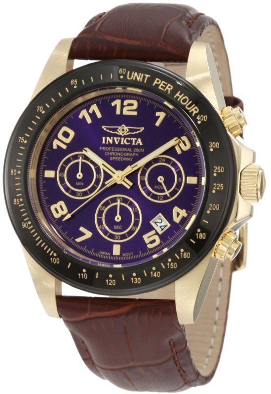 Invicta Men's 10710 Speedway Chronograph Blue Dial Brown Leather Watch