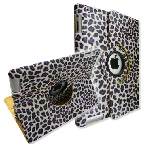 Leopard Purple 360 Degree Rotating Stand Smart Cover Leather Case for Apple iPad 2