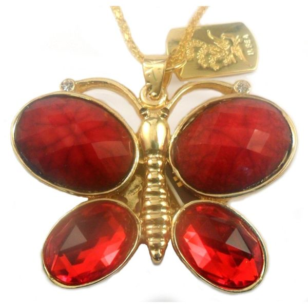 32GB USB Flash Drive Jewelry Necklace Red Butterfly