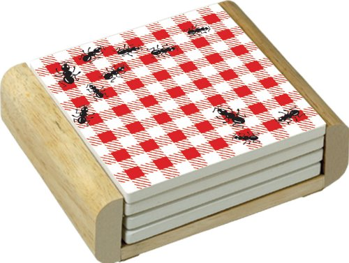 Picnic Guests Design Absorbent Coasters in Wooden Holder