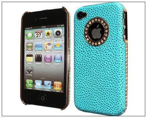 Luxury Bling Stingray Design Genuine Leather Rhinestone Hard Back Case Cover For iPhone 4 4s