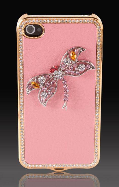 "Jeweled Dragonfly on Pink & Gold ""Elite Collection"" Luxury glass diamond case cover for Apple iPhone 4 4G 4S"