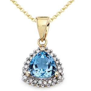 1/3 Carat Trillion Blue Topaz & Diamond 10k White Gold Pendant