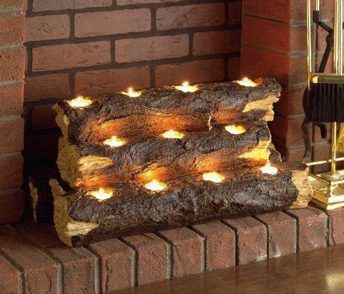 Tealight Log Holder Realistic Fireplace Log Substitute