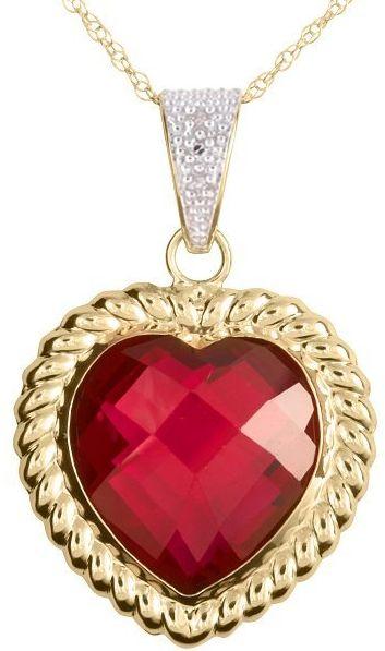 10k Yellow Gold Created Ruby and Diamond Heart Pendant