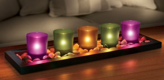 5-piece Jewel Tone Candle Tray