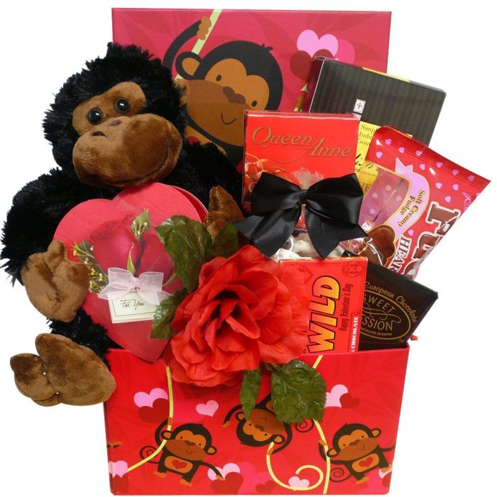 I'm Wild About You! Valentine's Day Chocolate Gift Basket with Plush Monkey