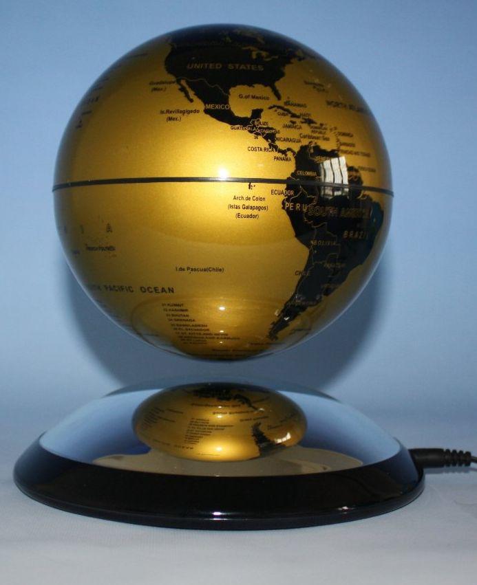 Levitating Globes 6 Inches Gold & Black