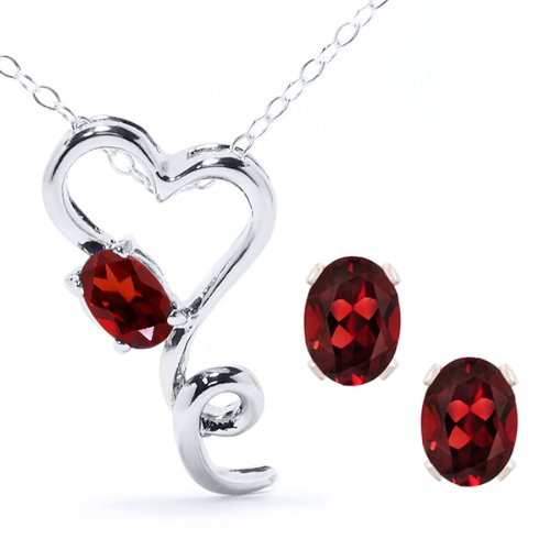 Oval Red Garnet Heart Shape Pendant Earrings Set