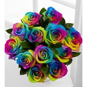 Time To Celebrate Rainbow Rose Flower Bouquet