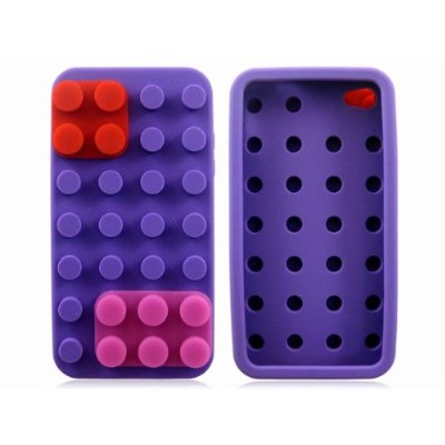Purple Funny Building Block Silicone Case Cover Skin for iPhone 4
