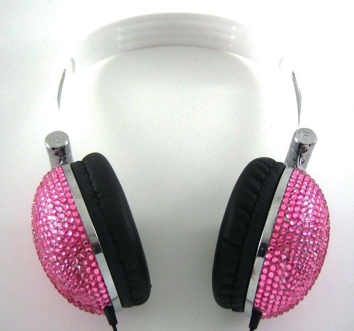 2 Pack/Set of Pink and Silver Crystal Bling Rhinestone DJ Over