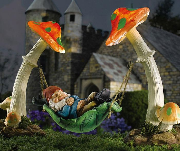 Solar Sleeping Gnome In Hammock Garden Sculpture