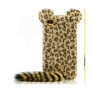 Luxury Leopard Hair Soft Fur Long Tail Case Cover Tail for Iphone 4 4g 4s