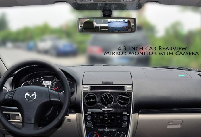 Car Rearview Mirror with Built-in 4.3 Inch Monitor and Camera