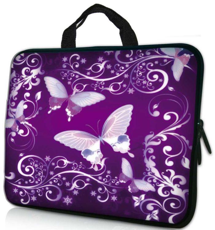 """17.3"""" Purple Butterfly Laptop / Macbook Sleeve Case Bag"""