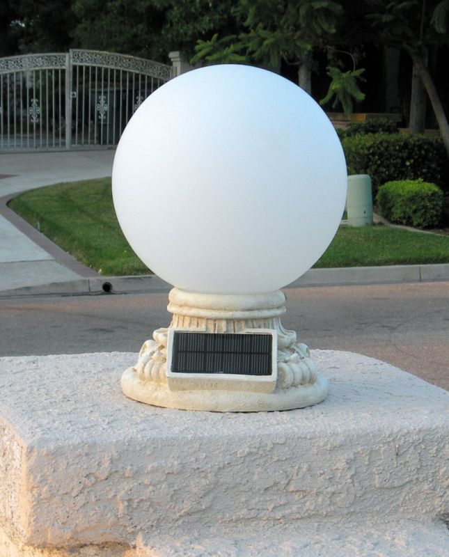 Solar 9 LED Light with 10 inches Hand Blown Frosted Glass Globe