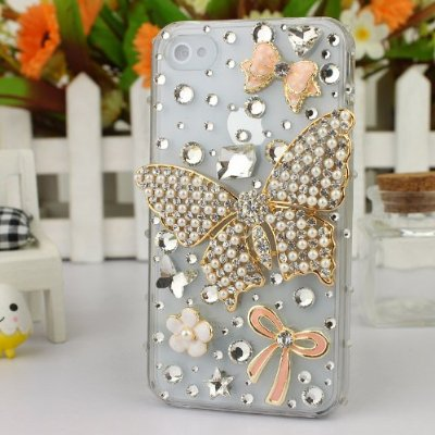 3D Crystal iPhone Case for AT&T Verizon Sprint Apple iPhone 4/4S Pearl Butterfly