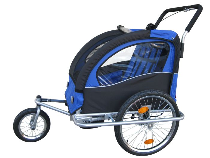 """""""Swivel"""" 3in1 Double Baby Bicycle Bike Trailer & Jogger Blue"""