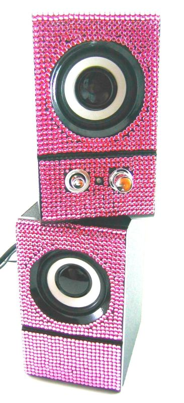 Pink Crystal Rhinestone Computer Speakers