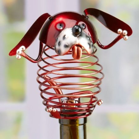 Decorative Spring Red Wrought Iron Dog Figurine Wine Bottle Stopper