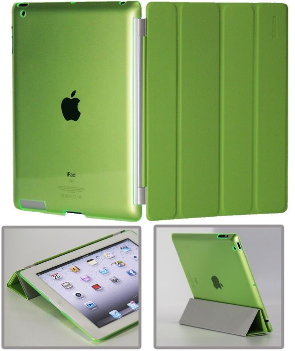 Green Polyurethane Smart Cover FRONT + GreenPoly-carbonate BACK Protector for Apple iPad 2 new iPad 3