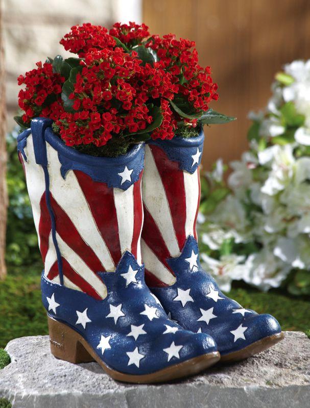 Patriotic Cowboy Boots July 4th Garden Planter