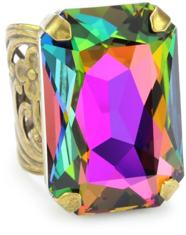 """""""Aurora Sky"""" Multi-Crystal Large Cocktail Adjustable Ring"""