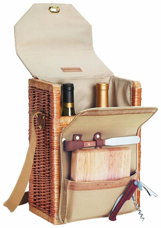 """Picnic Time Corsica 13"""" H Willow 2-Bottle Wine"""