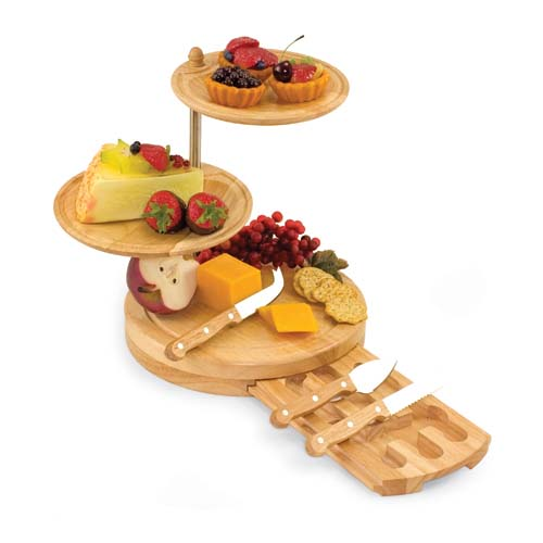 "Picnic Time Regalio 10"" 3-Tier Serving Tray Cheese Board"
