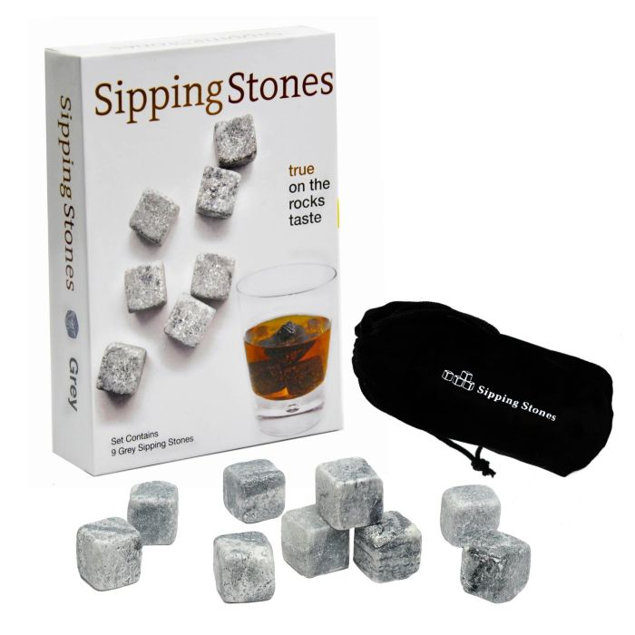 Set of 9 Grey Whisky Chilling Rocks in Gift Box