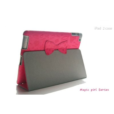 Magic girl Series Cartoon PU Leather Case Cover Stand with Bowknot For iPad 2
