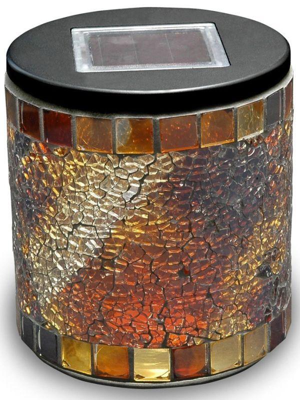 Solar Mosaic Jar Cylinder Jewel Tone