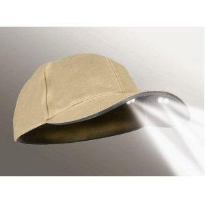 4-LED Khaki Unstructured Flashlight Hat