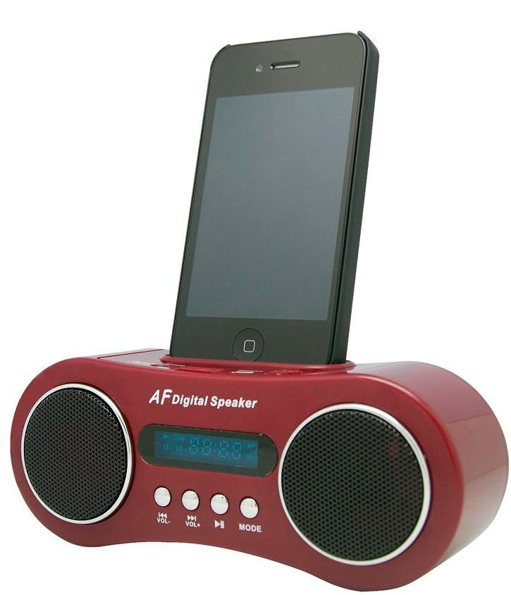 Mini Portable Rechargeable Speaker for Ipod and Iphone in Cola Red