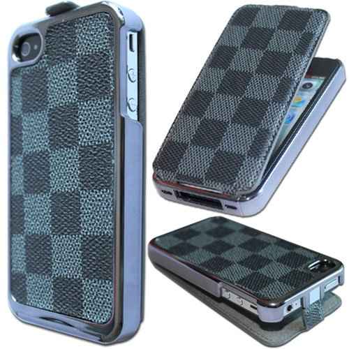 Dual Use Cool Best Special Chrome Flip Leather Case for iPhone 4 4G 4S