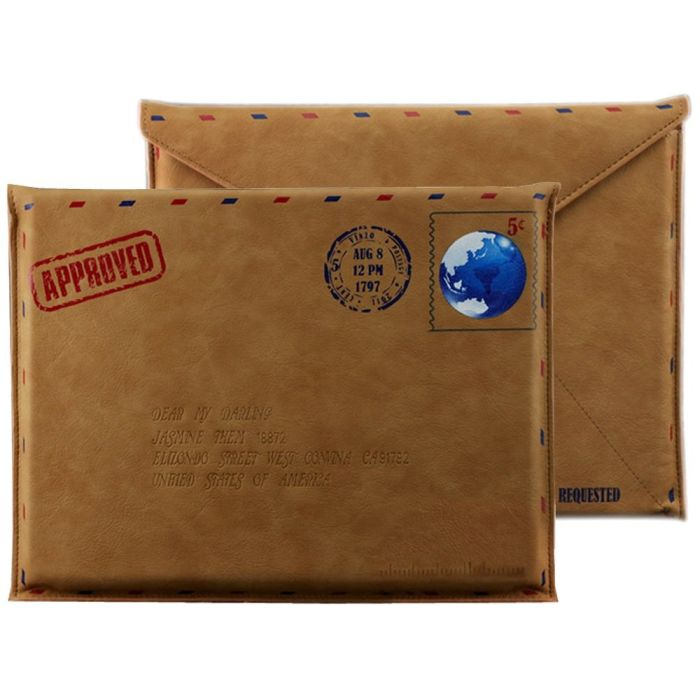 Vintage Letter Post Air Mail Envelope Style Tablet Netbook Slim Fit Sleeve Cover Carry Case Pouch Bag for Apple iPad 1, 2 & 3 / Amazon Kindle 3 Kindle 4 Kindle Touch