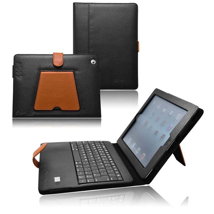 CrazyOnDigital iPad3_KBBT_LthrBlkBrwn Bluetooth Keyboard Leather Case