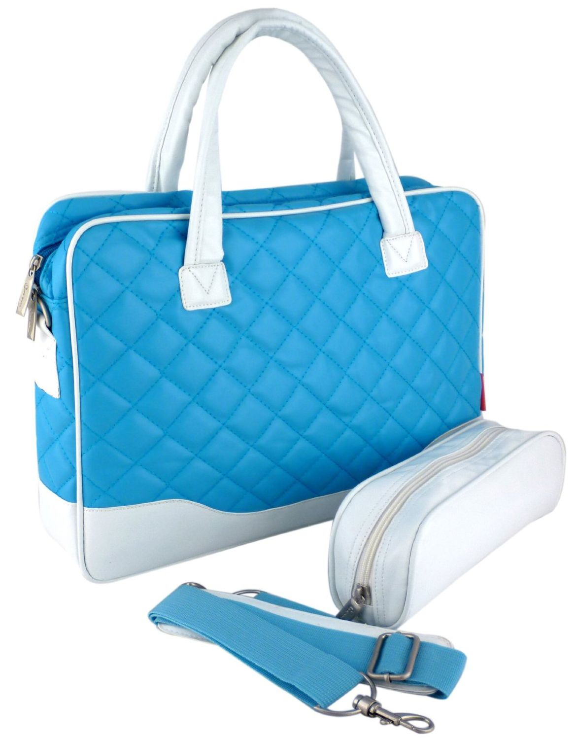 Baby Blue Diamond Quilted Pattern with White Accent Trim Bubble Foam Padded Laptop Computer