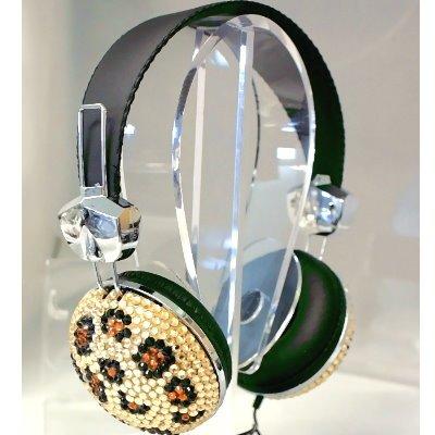 Leopard Crystal Rhinestone Bling DJ Over-Ear Headphones