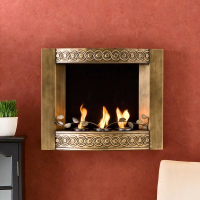 Antique Gold Brushed Wall Mount Gel Fuel Fireplace