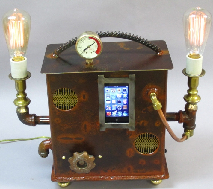 Steampunk Boom Box and Desk Lamp