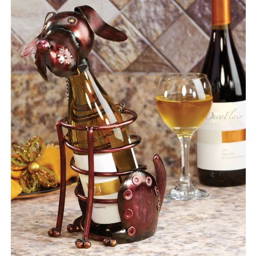 Hand Sculpted Wrought Iron Dog Table Top Wine Bottle Holder