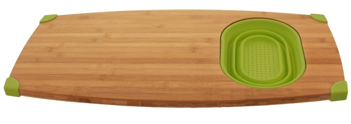 Bamboo Over Sink Cutting Board with Silicone Colander