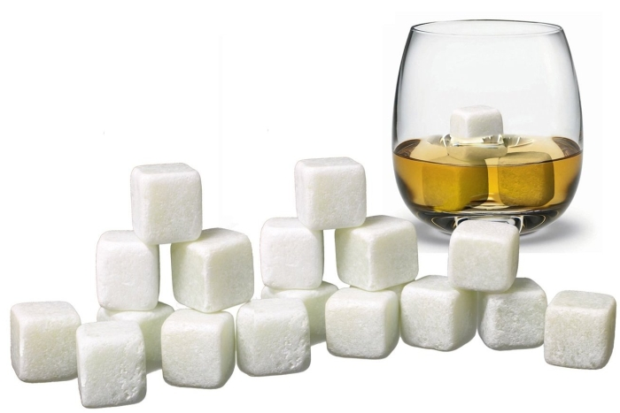 18 White Whisky Chilling Rocks IN BULK with a Muslin Pouch - Chill Your Whiskey with these rocks Without Dilution