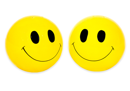 SMILEY FACE SALT & PEPPER SHAKERS